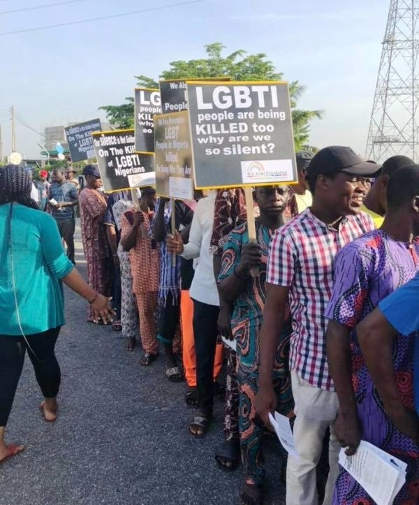 """LGBTI people are being killed too. Why are we so silent?"" protesters in Lagos ask. (Photo courtesy of Bisi Alimi via Facebook)"