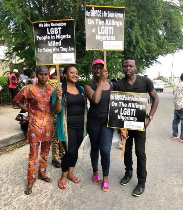 Protesters in Lagos seeking an end to killings of LGBTI Nigerians. (Photo courtesy of Bisi Alimi via Facebook)