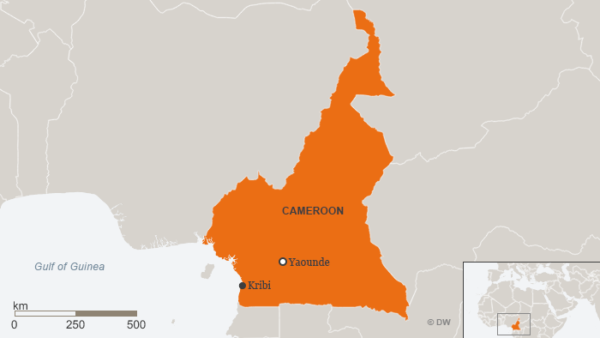Kribi's location on the southwest coast of Cameroon. (Map courtesy of DW.com)