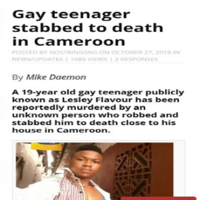 "The report ""Ignorance"" includes an account of the murder of gay teenager Lesle Flavour, who had long been the victim of homophobic mockery and attacks."