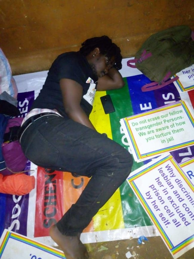 Activist Mbazira Moses, sleeping outside the U.N. refugee office in Nairobi, threatens a hunger strike until 20 fellow LGBT refugees are released from jail. (Photo courtesy of Mbazira Moses via Facebook)