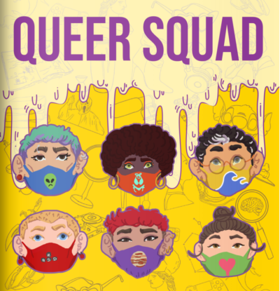 "The cover page of ""Queer Squad"" features six LGBTQ-identifying characters."