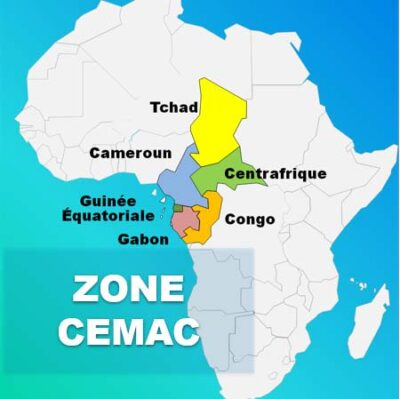 "The CEMAC zone stretches from Chad (""Tchad"" in this French-language map) to the Republic of Congo. (Map courtesy of APA News)"