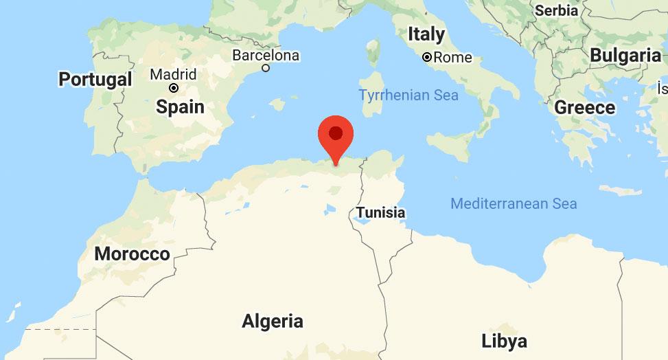 Location of el-Kharoub in Algeria. (Map courtesy of Google Maps)
