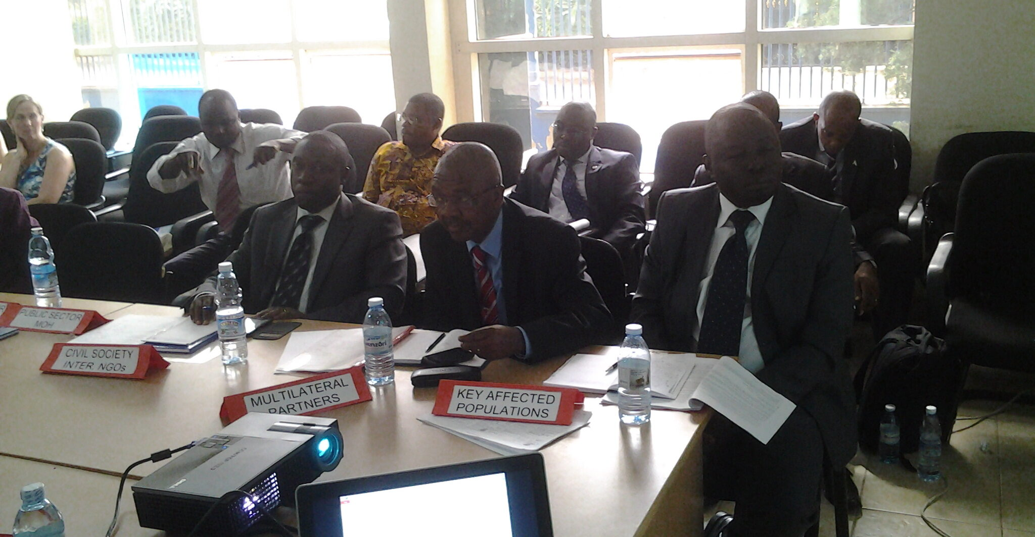 Kikonyogo Kivumbi (first on the right, front row) at a CCM Global Fund sitting in Kampala. (UhspaUganda photo)